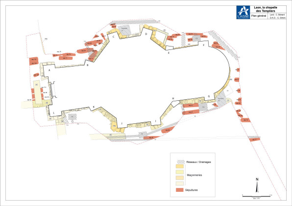 Plan général-chapelle des templiers©Pole archeologique du département de l'aisne_fouille 2015