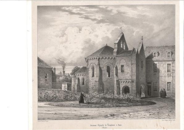 lithographie chapelle des templiers après 1847_musee de laon 74-26