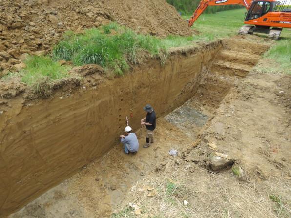 Prélèvement de sédiments en vue d'études paléoenvironnementales